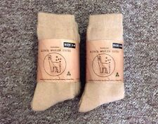 6 PAIRS PREMIUM QUALITY EXTRA FINE THICK ALPACA WOOL WORK SOCKS BEIGE LADIES 2-8