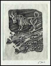 Jakubowski Wojciech 1984 Exlibris C2 Taurus Fish Stier Fisch Tauro Byk 581