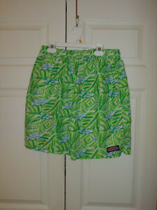 Men Vineyard Vines Green Blue Batik Fish Print Swim Chappy Trunks Size M