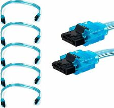 "5x 10 Inch 6Gbps SATA 3 Serial ATA Data HD 10"" Cable Neon Blue Lot of 5 New 8786"
