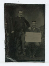 MEN HOLDING HORSE WHIP AND HAND WRITTEN SIGN. TINTYPE, RARE AND A BIT ODD.