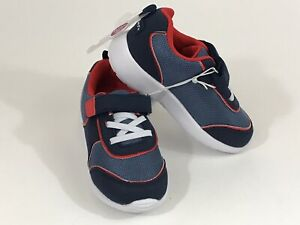 GERBER Shoes Toddler Faux Suede Mesh Strap Athletic Sneakers Size 9 Navy Red