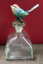 New ListingSmall Clear Glass Perfume Square Bottle & Bronze Painted Enamel Blue Bird Topper