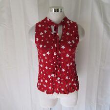 Misope Juniors Shirt Tank Top Small Sleeveless Tie Neck Stars Fun Cute New E19