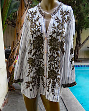 "NWT JOHNNY WAS XL ""Cayden"" White Striped Cotton Embroidered Blouse Top"
