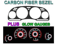 REAL CARBON FIBER BEZEL + RED GLOW GAUGE FACE FOR 92-96 NISSAN 300ZX NON TURBO