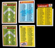 Lot of 5 1980's Topps Baseball Checklist Trading Cards