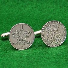 Swedish WW2 Vintage 1940s Coin Cufflinks, Iron 1 Ore Sweden Scandinavian