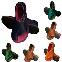 US Women PU Leather Flat Sandals Ladies Comfy Slip On Shoes For Bunion Corrector