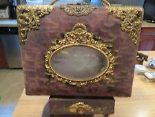 VINTAGE VICTORIAN PHOTO PICTURE ALBUM WITH MUSIC BOX ON STAND