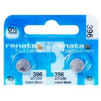 2 x Renata 396 Pila Batteria Orologio Mercury Free Silver Oxide SR726SW 1.55V