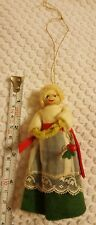 Vintage fabric woman Christmas xmas holiday ornament decoration pre-owned