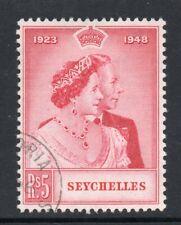 Seychelles 1948 KGVI Royal Silver Wedding 5/- SG 153 used