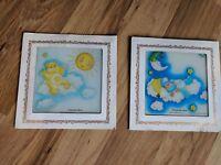 Lot Of 2 Vintage 1987 Care Bears Sleepytime Bear & Sunshine Bear Glass Pictures