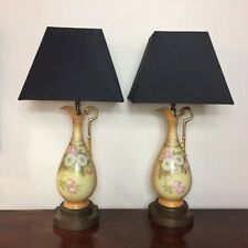 Pair of Worcester style porcelain lamps  Ref  A12528
