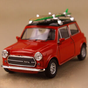 1990 Red Mini Cooper 1300 Green Surfboard Diecast 1:34 10cm Opens Pull Back OLP