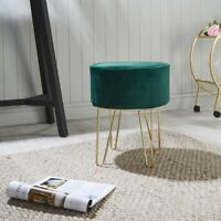 Ports of Call: Jeff Banks Soft Velvet Footstool Green Luxury Living Room Chair
