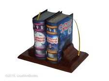 new set of 2 hardcover Miniature Books Cuentos de Terror Español w/ wooden stand