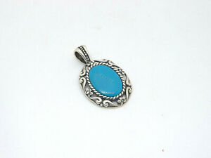 Carolyn Pollack Relios Sterling Silver Open Filigree Frame Turquoise Pendant 7.1