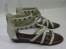 """Summer Beige 1"""" Wedge Heel Ankle Strap Womens Shoes Sexy Sandals Size 7"""