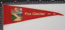 VINTAGE FOX GLACIER NEW ZEALAND TOURIST SOUVENIR PENNANT FELT CLOTH WALL FLAG