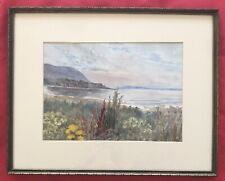 Original Irish Art Watercolour Painting Evening Carnlough Bay By Frances Heron