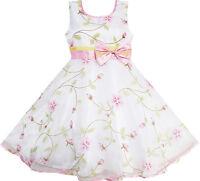 Robe Fille Fleur Feuilles Mariage Blanc Demoiselle d'honneur Enfant 4-12 ans