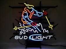 "New Skiing Bud Light Neon Sign 24""x20"" Lamp Poster Real Glass Beer Bar"