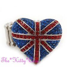 United Kingdom Patriótico Union Jack Británico, Anillo Corazón Reino Unido con cristales de Swarovski