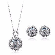 18K Gold GP SWAROVSKI Element Crystal Round Earring Necklace Set Silver