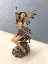 6� Purple Fairy On Mushroom Statue Resin Figure Fantasy Gold Green wings
