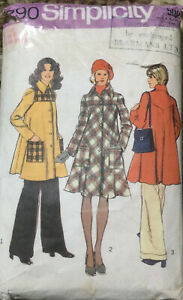 70s Simplicity Sewing Pattern Lined Bias Tent Coat Two Lengths  Size 8
