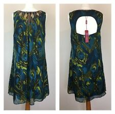 NEW 100% Silk dress Peacock Blue Green Wedding Guest Occasion Sequin Size 12