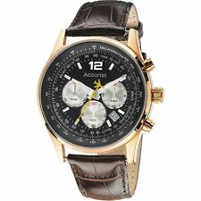 Accurist Chronograph Black Dial Brown Leather Strap Mens Watch MS898B
