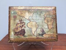 "Wooden Gesso Gold Gilt Trinket Box Italy World Map 7""x5""x2.25&#034 ;"