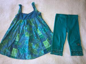Naartjie Bali Floral Lawn Dress Crochet Leggings Outfit Size 4 EUC