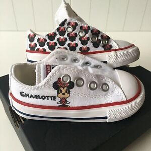 Converse All Star Size 4 / 20 White Personalised Minnie Mouse Charlotte BNIB