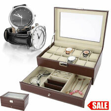 UK Watch Box Jewelry Case Organizer Large 12 Brown Leather Display Glass Top Men