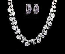 14k White Gold Necklace Earrings Set made w Swarovski Crystal Diamond Stone Wed