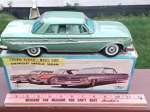Very Rare Bandai License Plated Chevrolet Impala Sedan Friction In Box