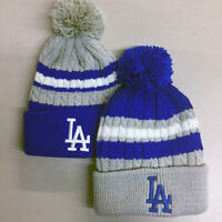 Los Angeles Dodgers Pom Pom Beanie Skull Cap Hat Embroidered LA LAD