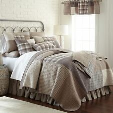 6pc SMOKY SQUARE Queen Quilt Set Taupe/Ivory/Slate Farmhouse - Donna Sharp