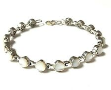 MOTHER OF PEARL BRACELET Double Sided w/ Marcasite .925 STERLING SILVER (7.5-in)