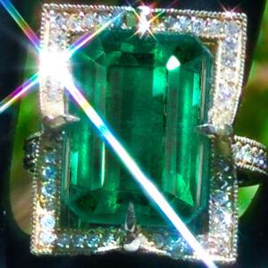 Emerald Ring 14K GOLD 30.25ct Diamond Sapphire COLOMBIAN Emerald Ring ESTATE NR↩