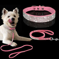 Rhinestone Diamante Dog Collar and Leash Suede Small Pet Puppy Cat Show Necklace