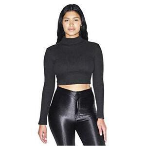 American Apparel Women's Thick Rib Long Sleeve Crop, Black, Size Small nQb3