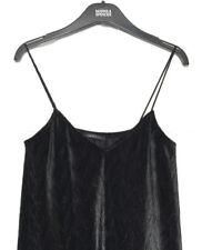 M&S Marks 14 Limited Black Ribbed Velvet Strappy Stretch Swing Mini Dress BNWOT