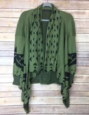 Bajee Collection Womens Sweater Sz S/M Cardigan Olive Green Black