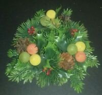 Vintage Christmas Plastic Evergreen Pine Cone Holly Centerpeice Candle Wreath