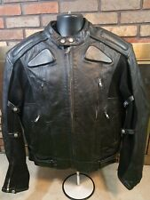 Xelement Motorcycle Jacket Black Leather Padded Removable Lining Mens Size XL